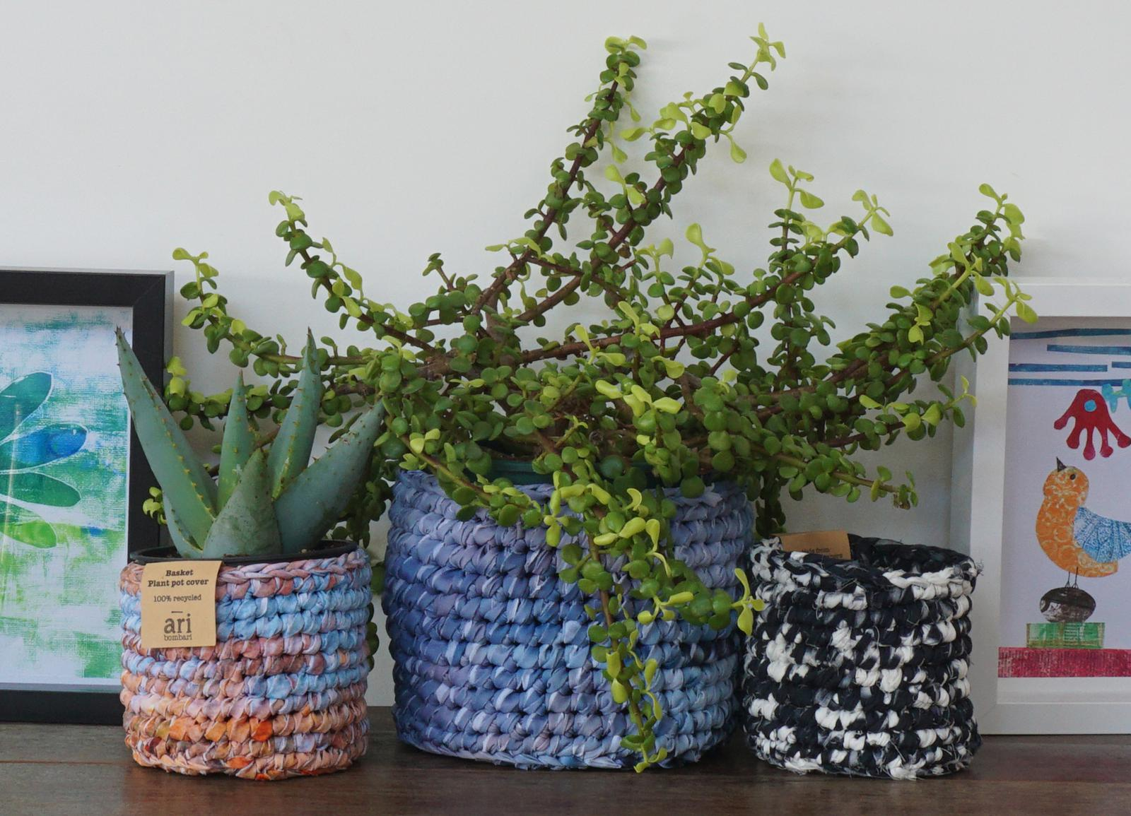 Recycled baskets and plant pot holders
