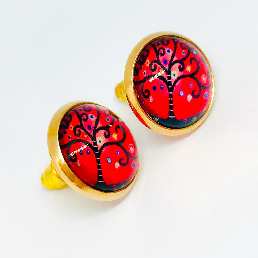 Gold plated cabochon earrings