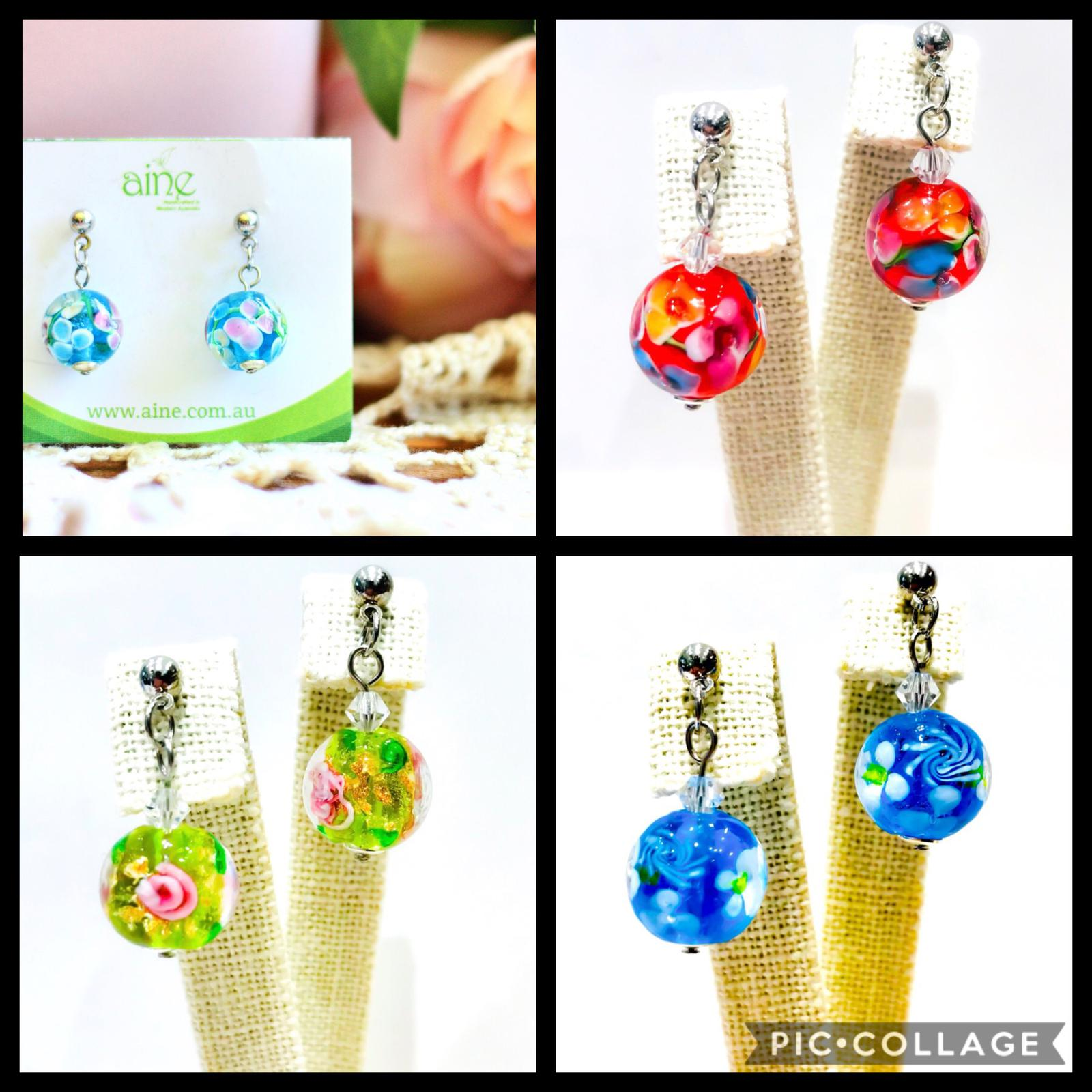 collage handmade glass earrings