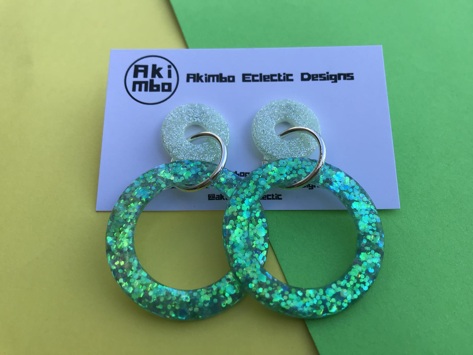 Mint-green double hoops