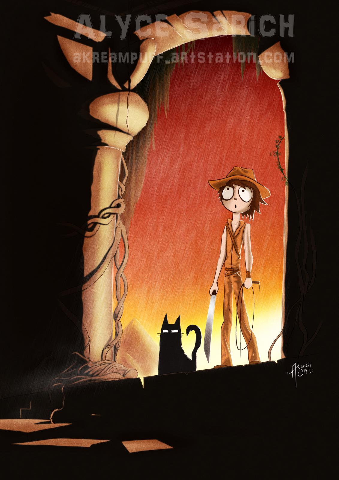 Ally & DK in the Temple of Doom - Parody Print