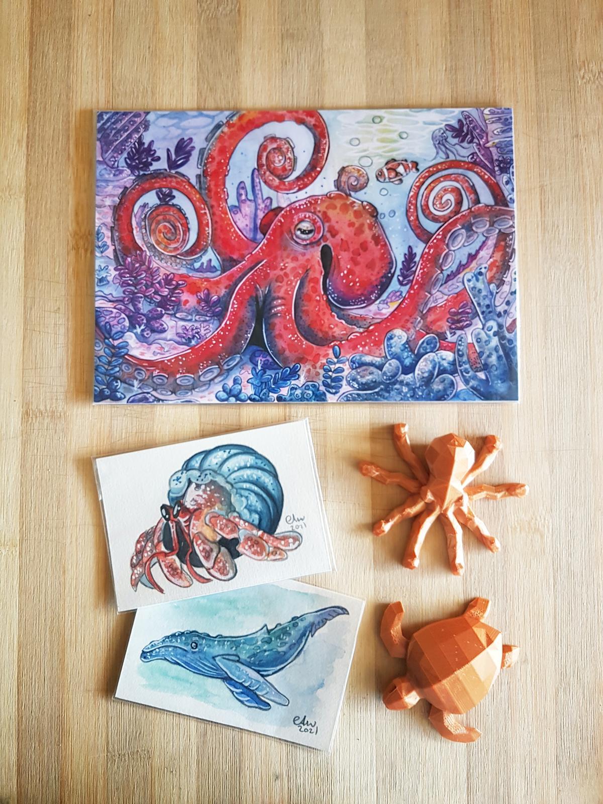 Prints, mini originals and 3d printed ornaments