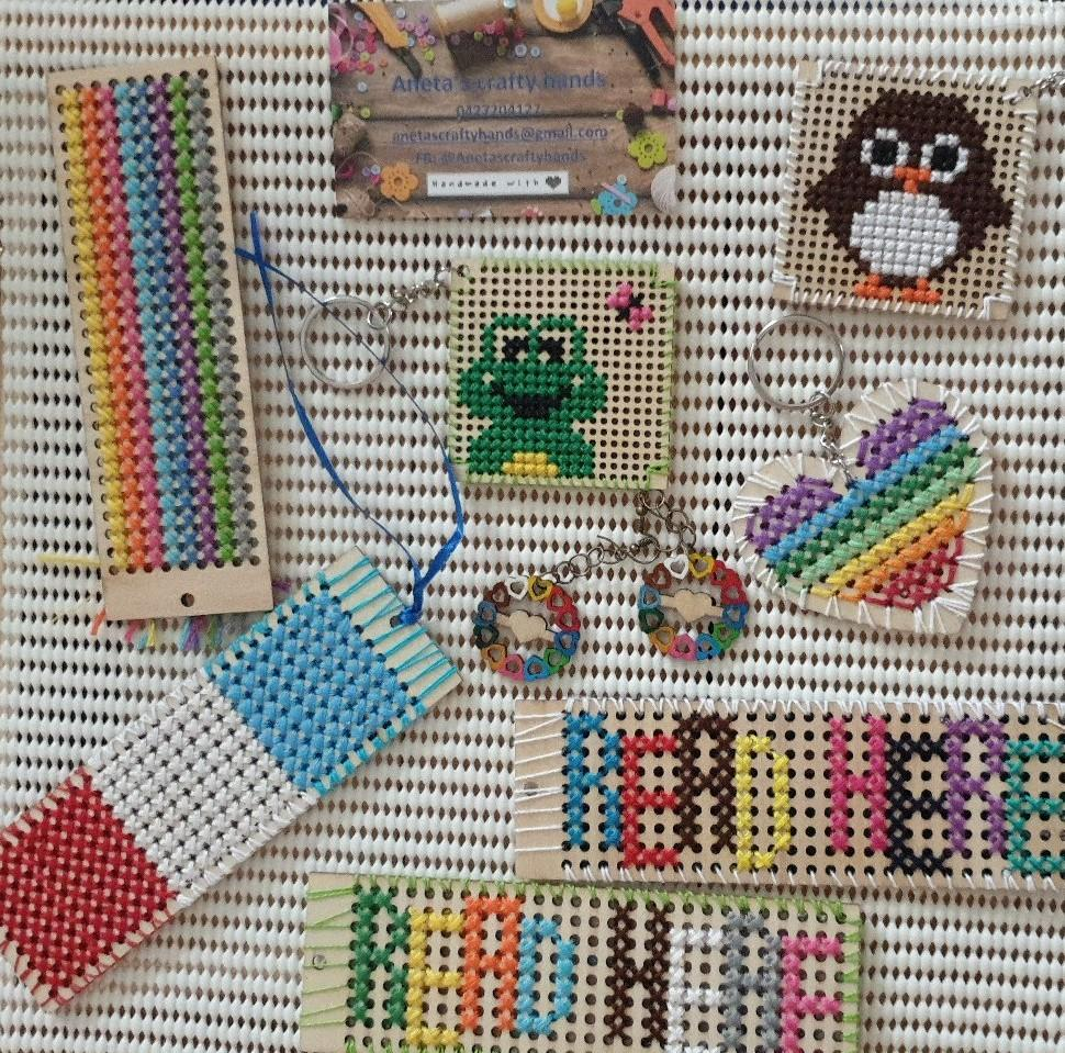 cross stich bookmarks, keyrings