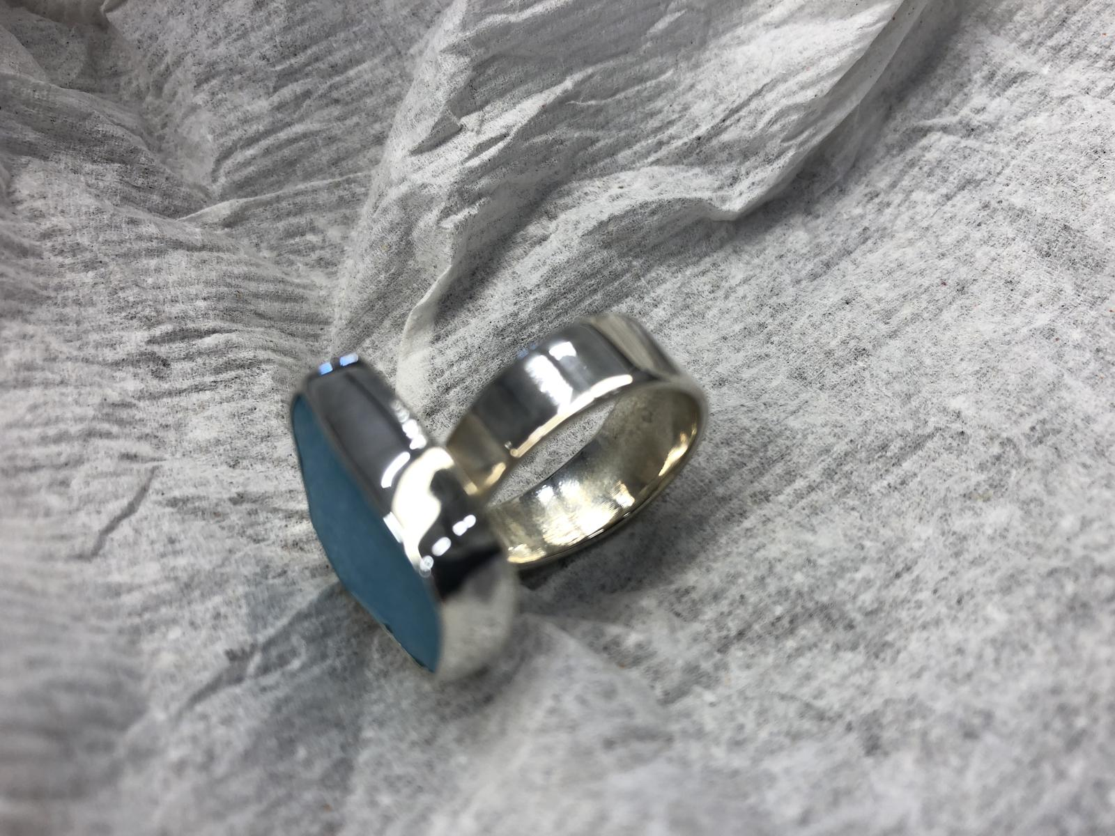 Sea glass reverse taper sterling ring