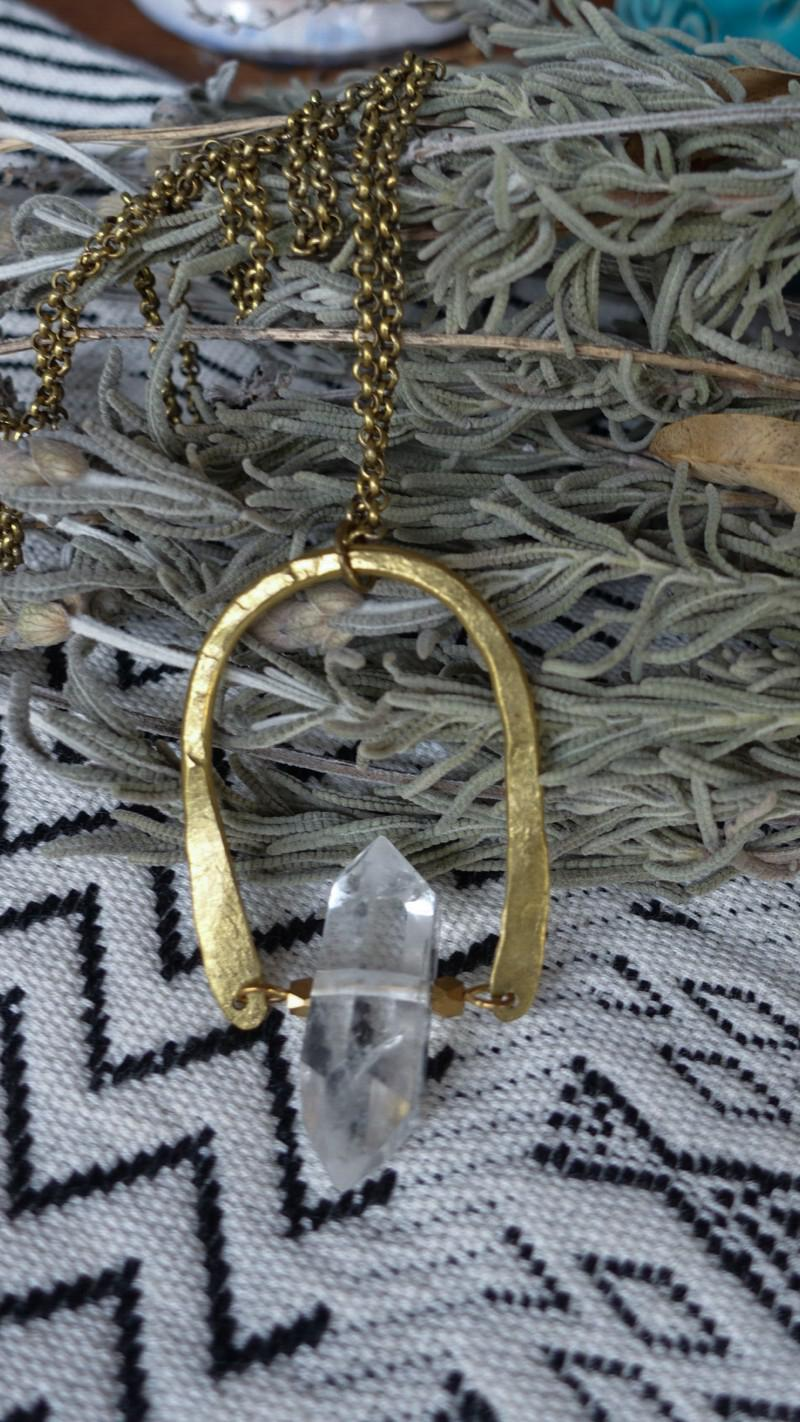 Mini Eclipse necklace. Hand forged brass & double terminated Quartz