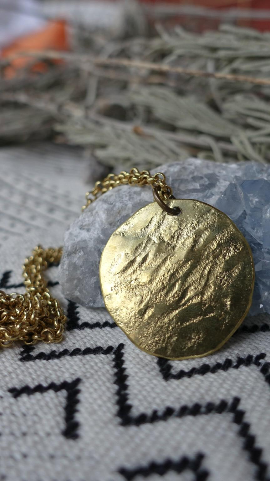 Full Moon necklace. Hand shaped and hammered brass