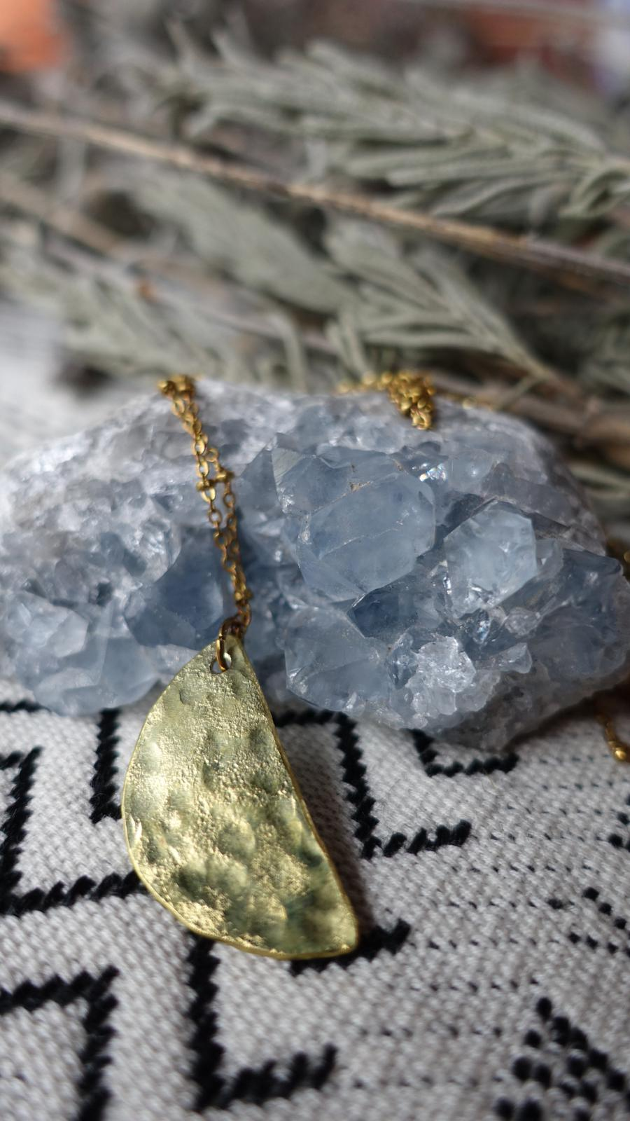 Half Moon necklace. Hand shaped & hammered brass