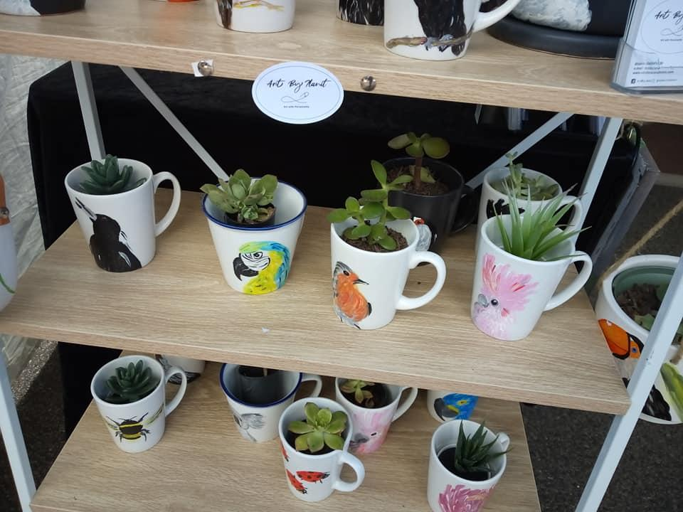 3) Hand Painted plant Mugs 2