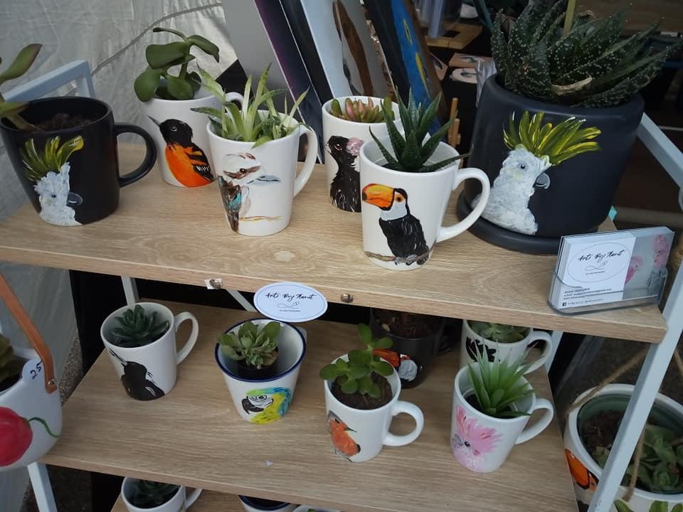 2) Hand painted plant mugs and pots