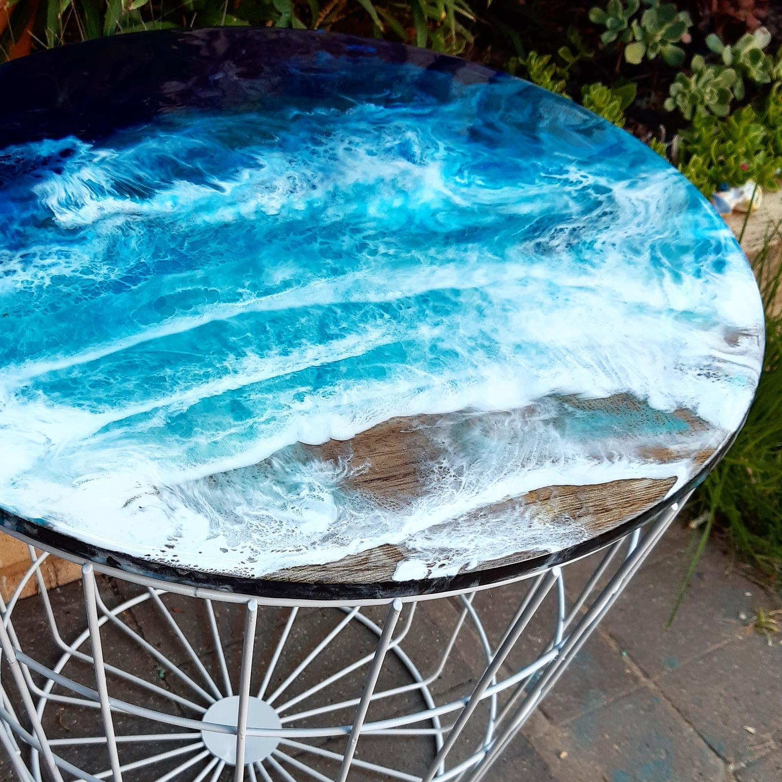 Beach resin art side table