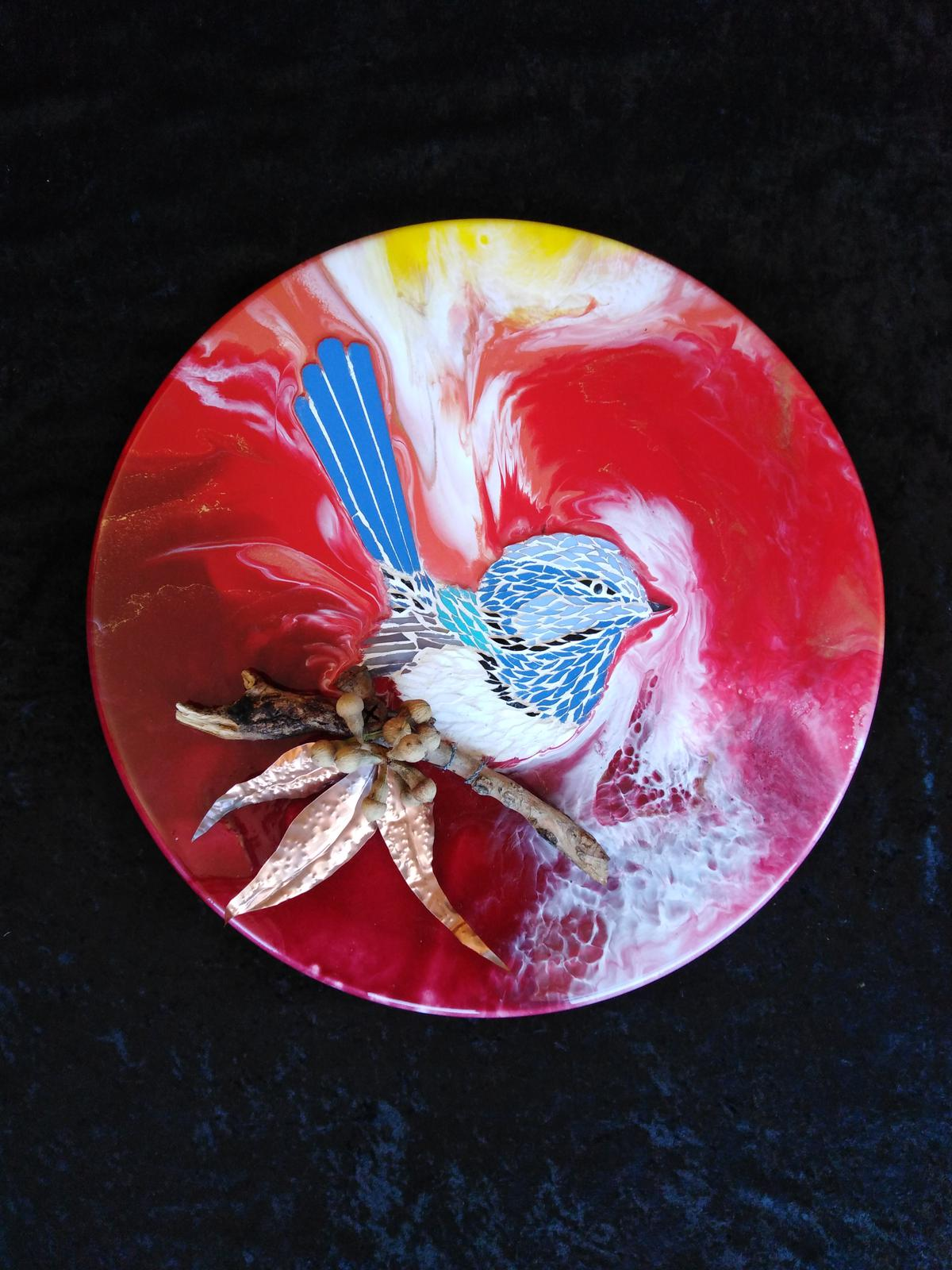 Mosaic wren with resin art, beaten copper and natural bush