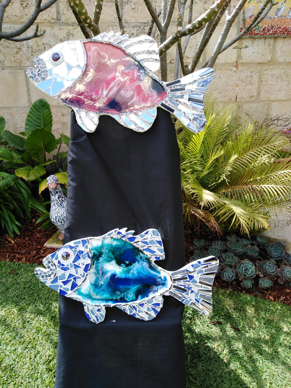 Resin and mosaic fish