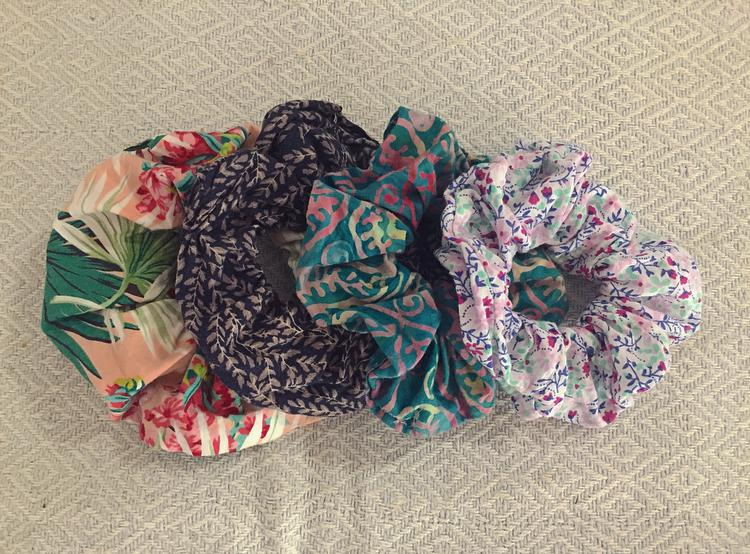Hand sewn scrunchies made from off cuts or old clothing!