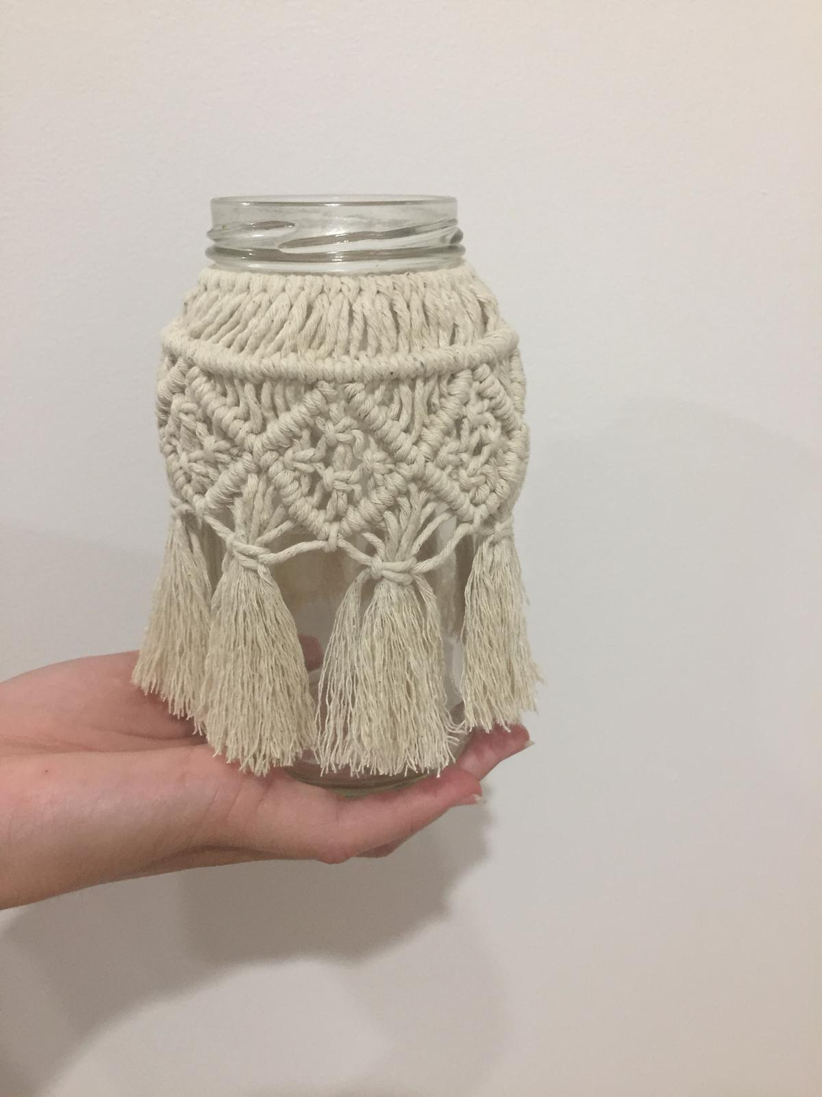 Macrame around recycled jar