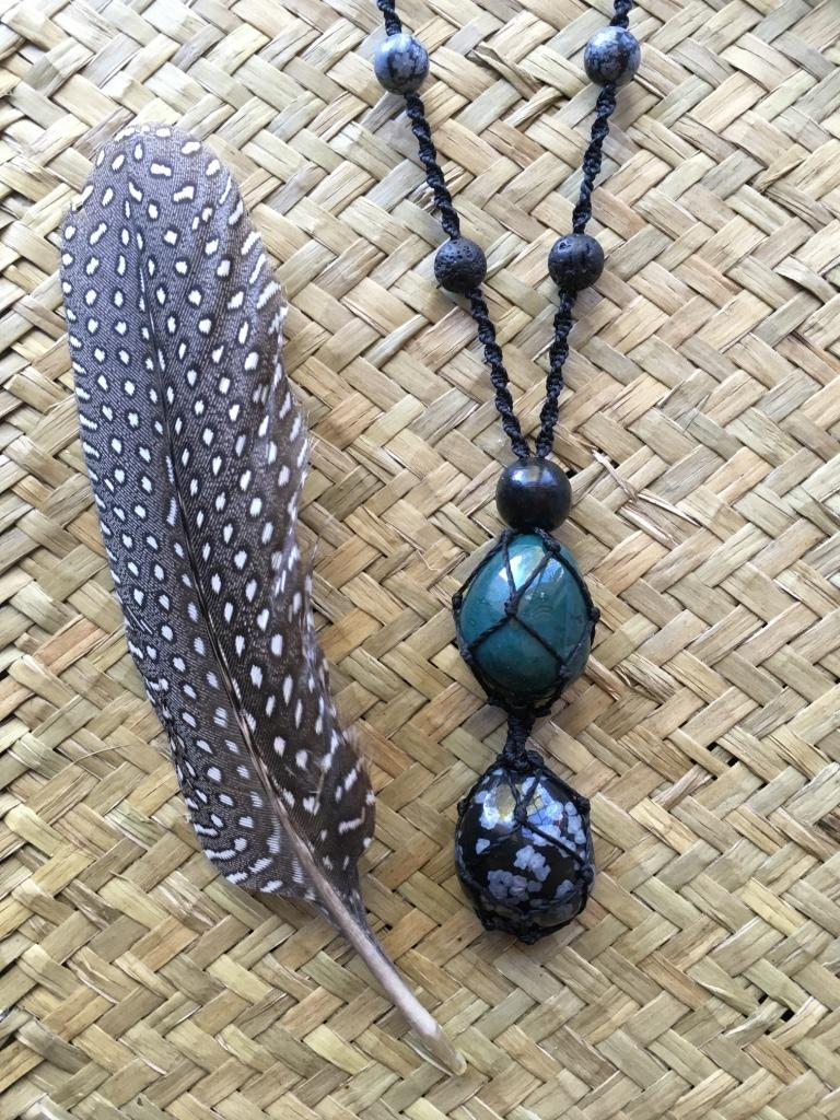 Crystal Amulets - Snowflake Obsidian and Moss Agate