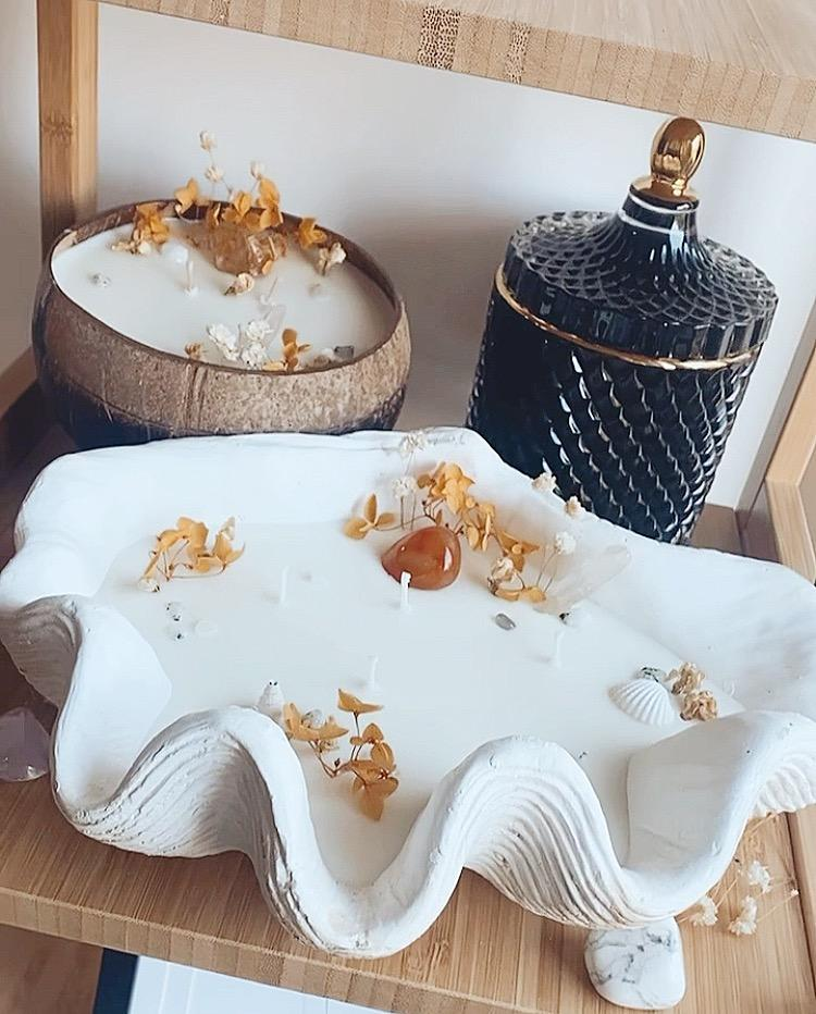 Coconut, and clam shell candle set