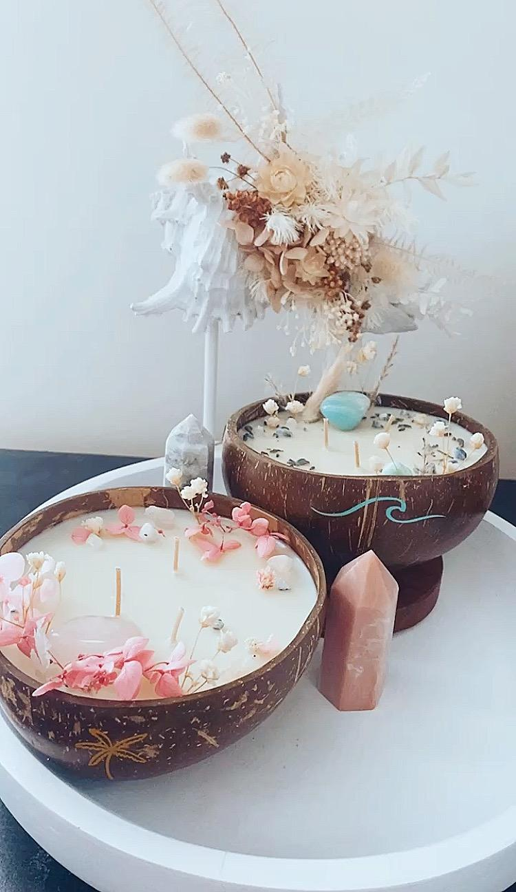 """""""Palm"""" and """"wave"""" coconut bowl candle set"""