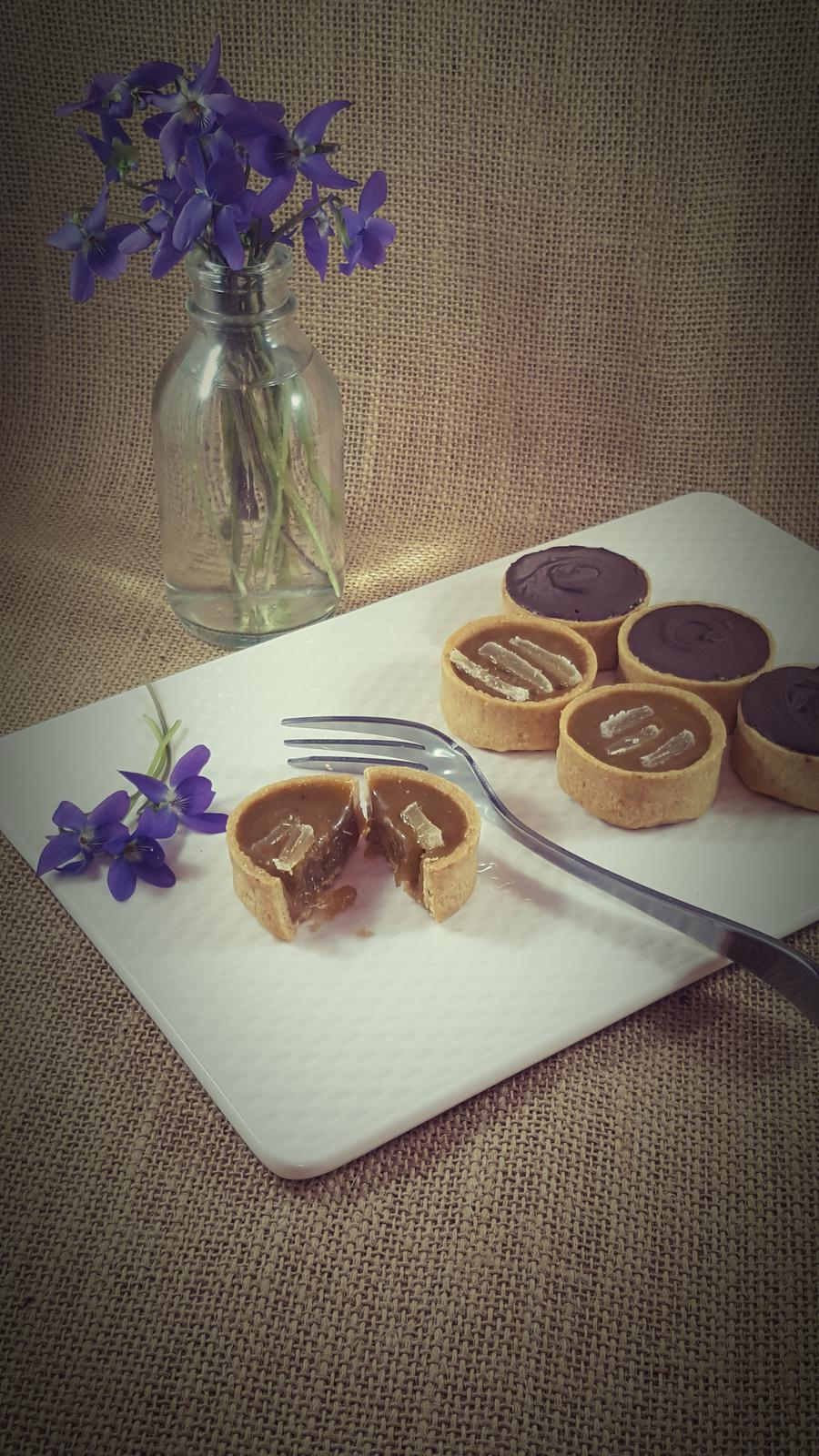 Choc caramel and Ginger tarts