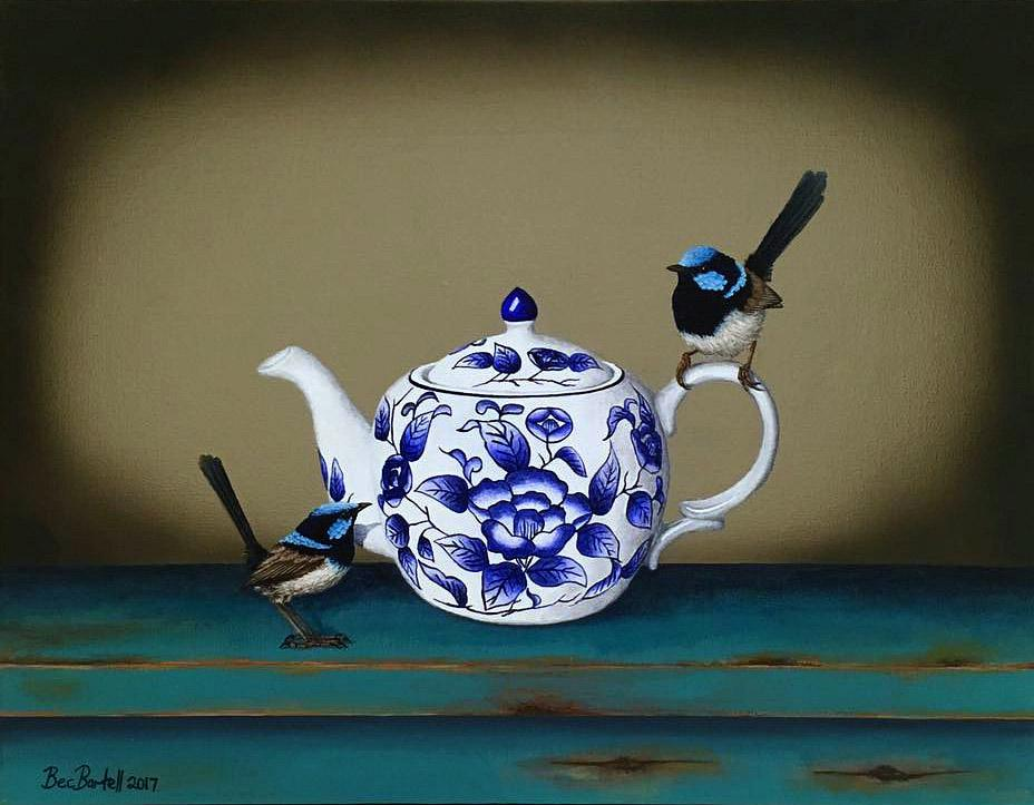 Blue Feathered Teapot