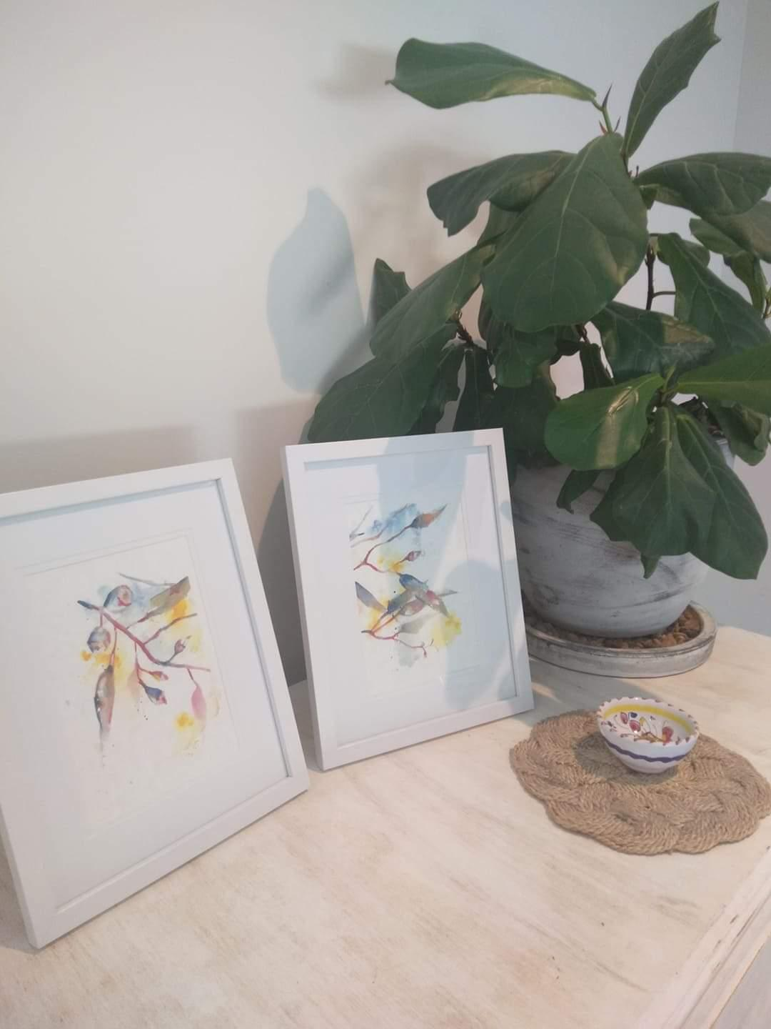 Australian wildflower inspired watercolour framed arts