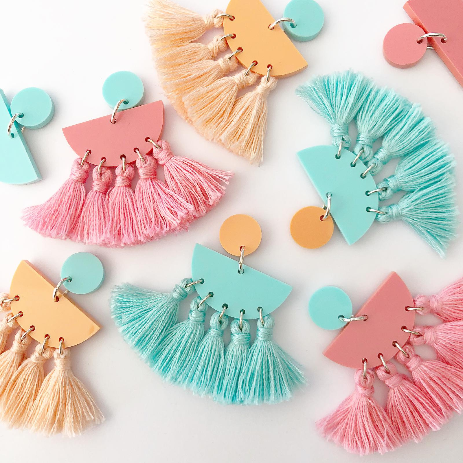 Bek & Joy Summer Tassel Earrings Multi