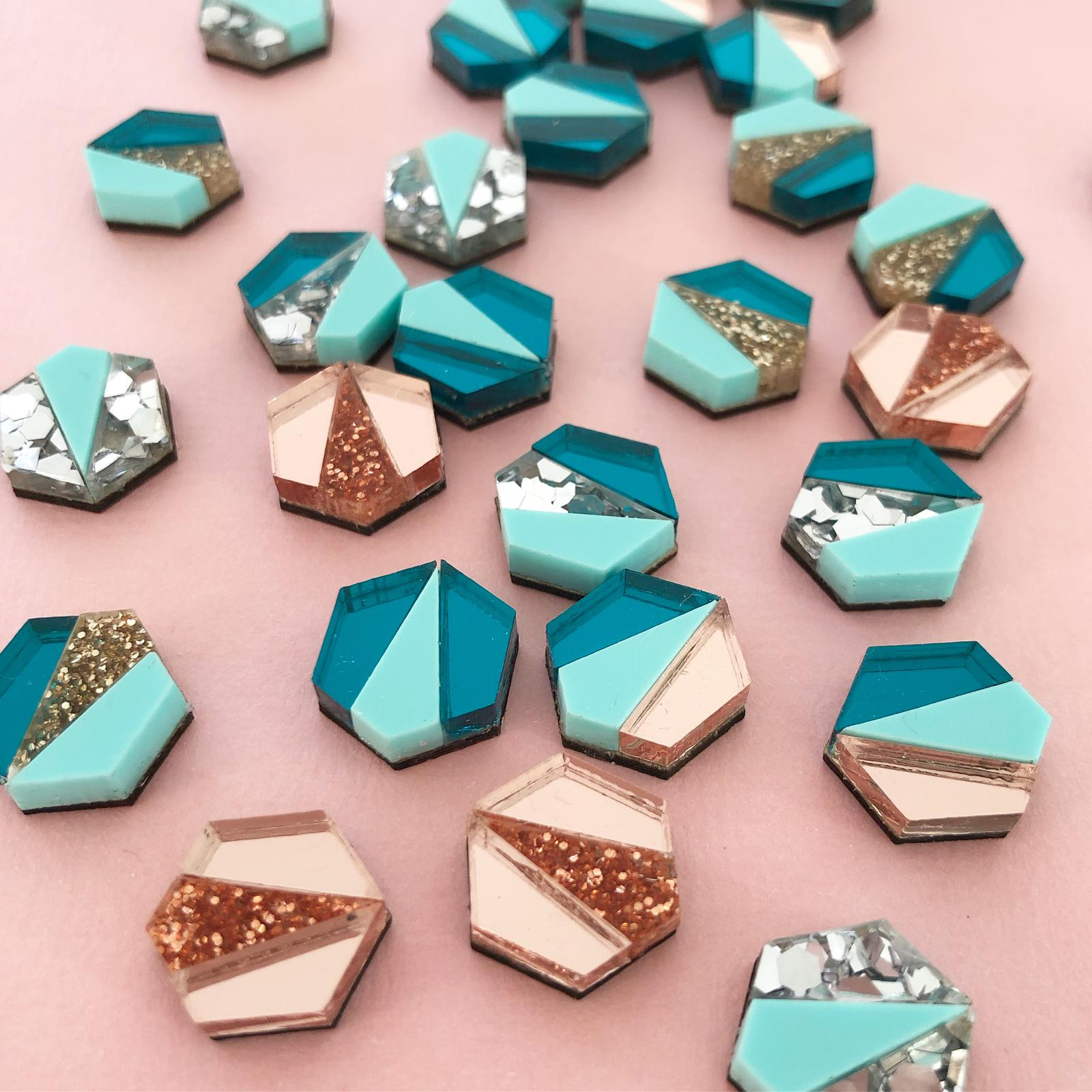 Bek & Joy Deco Hex Earrings Multi