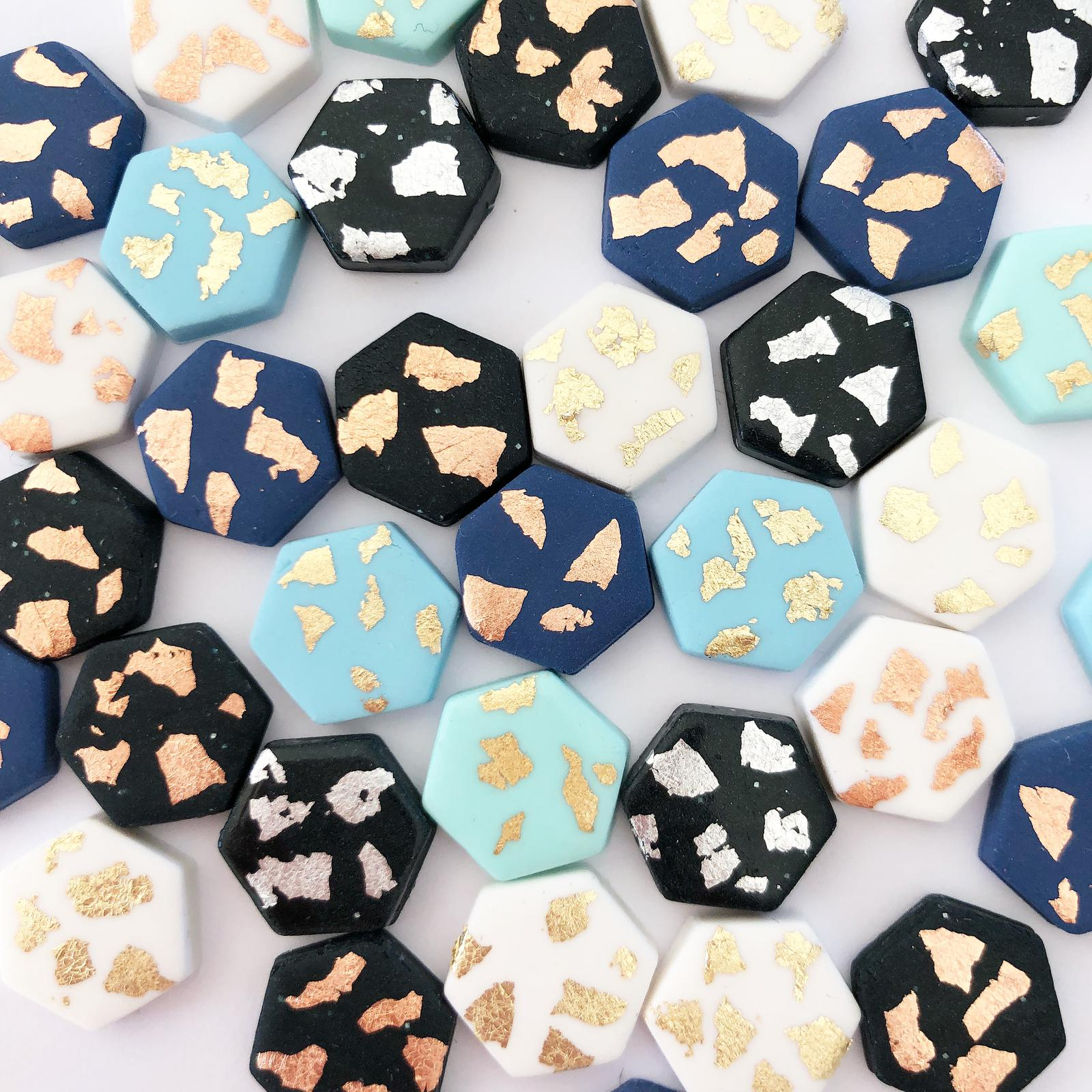 Bek & Joy Hexagon Studs Multi Fleck