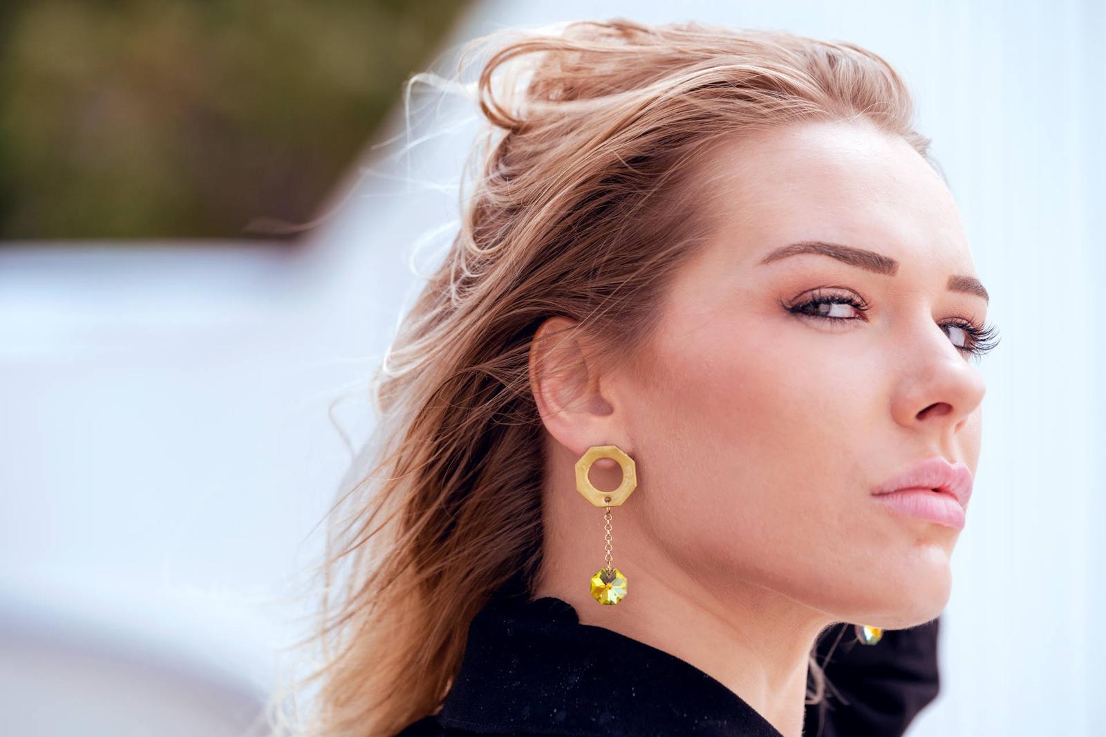 Octagon Earrings Gold
