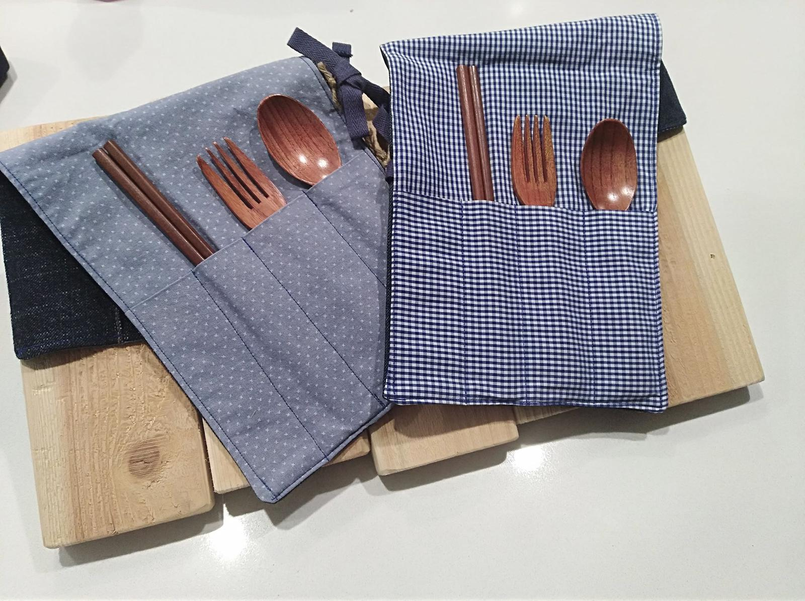 Recycled denim cutlery rolls