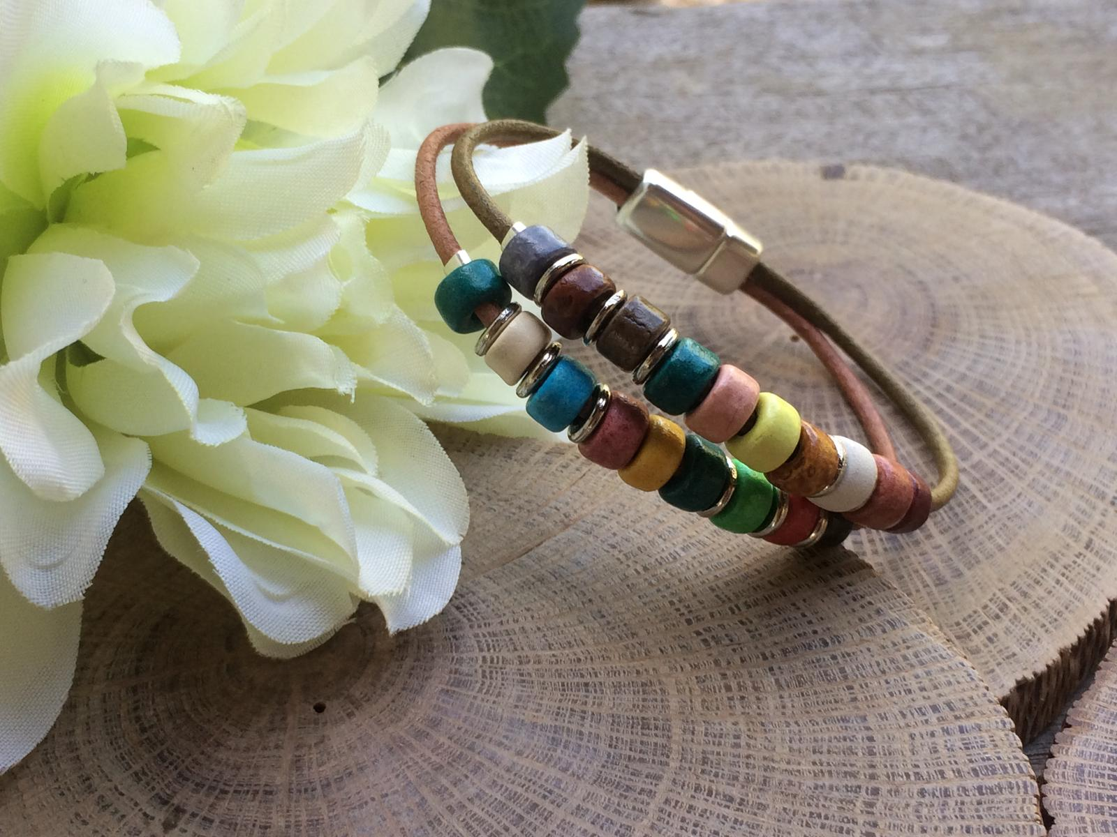 Ceramic leather bracelet