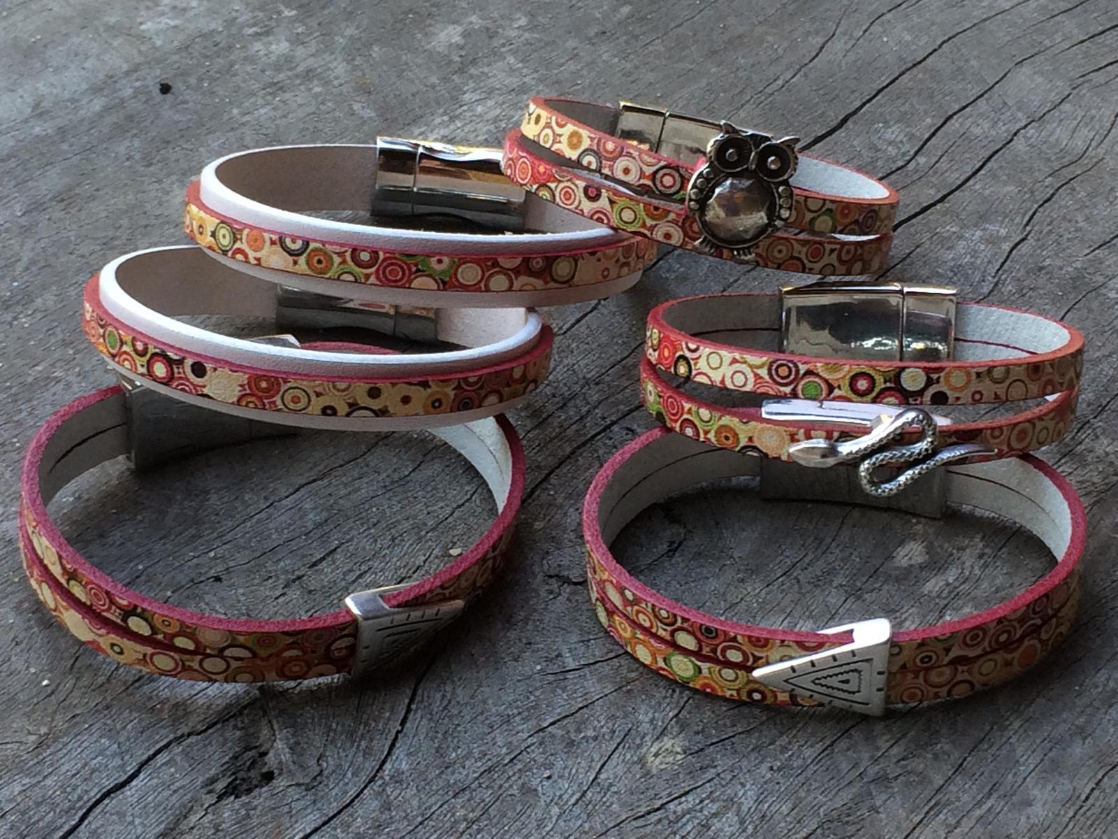 Polkadot leather bracelets
