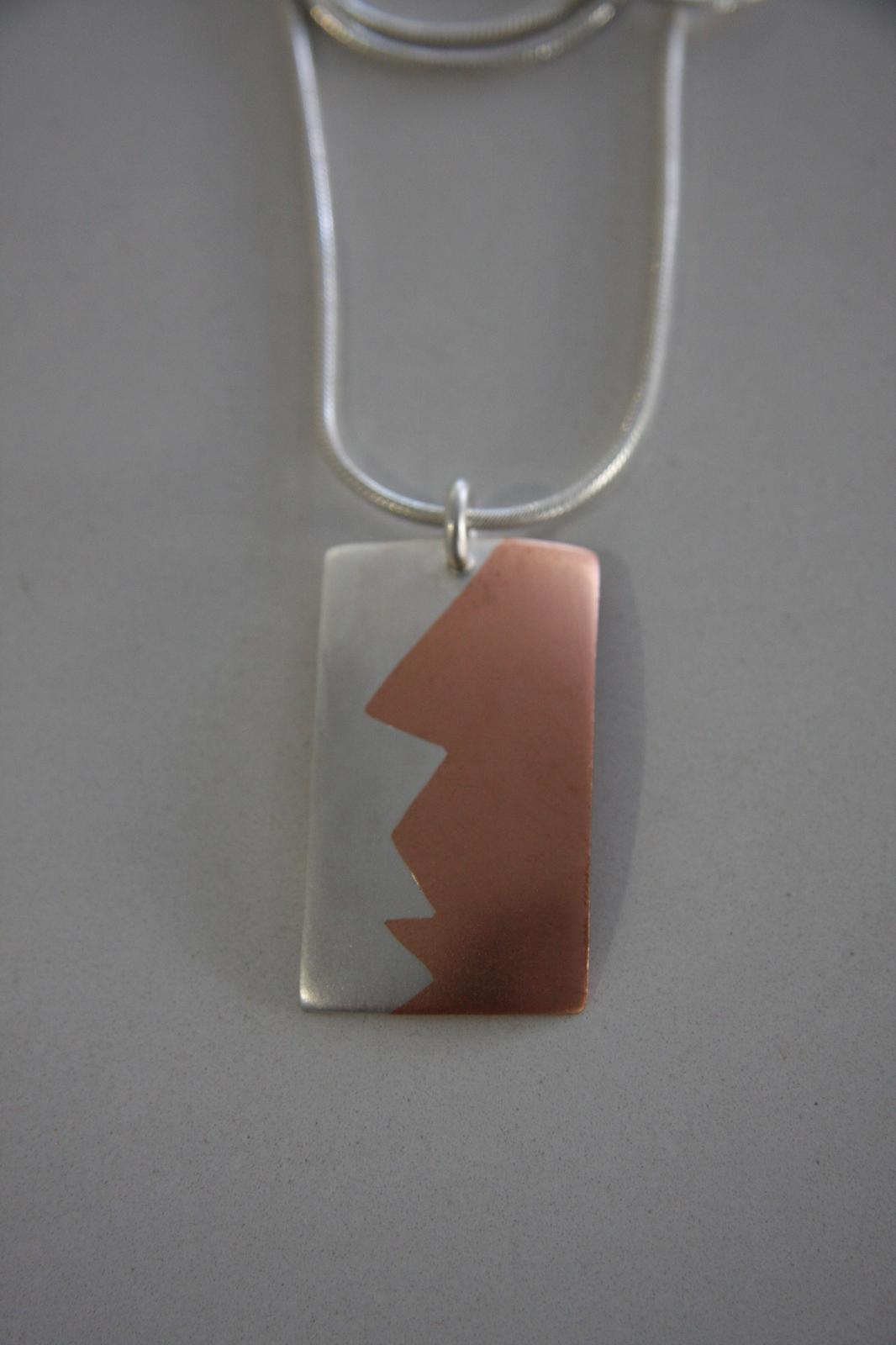 Mixed metal necklace. Copper and Sterling Silver.