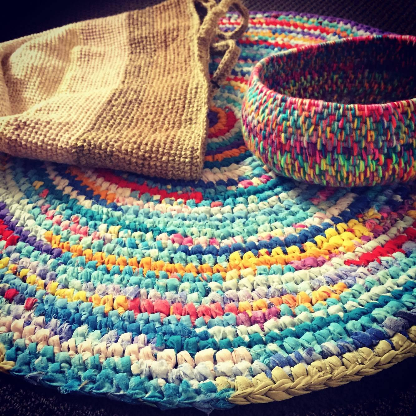 Crochet homewares made from recycled fabrics