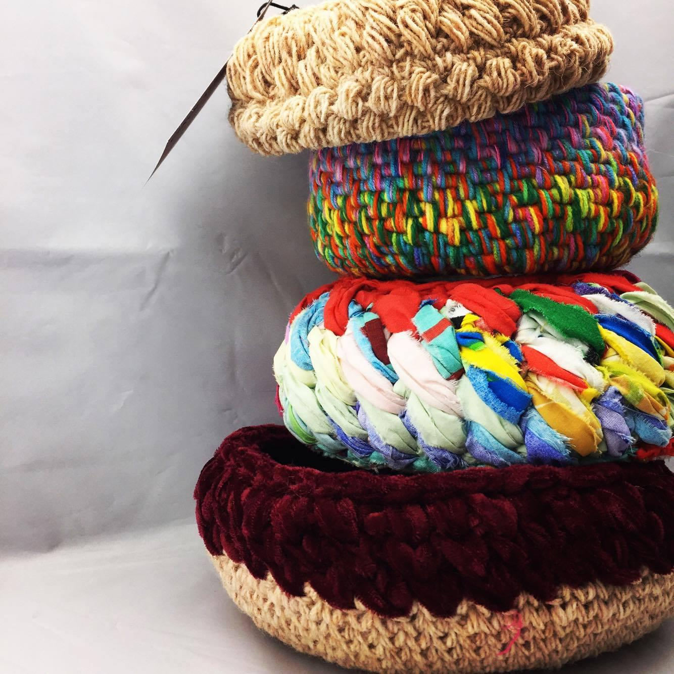Crochet & coiled bowls made from recycled materials