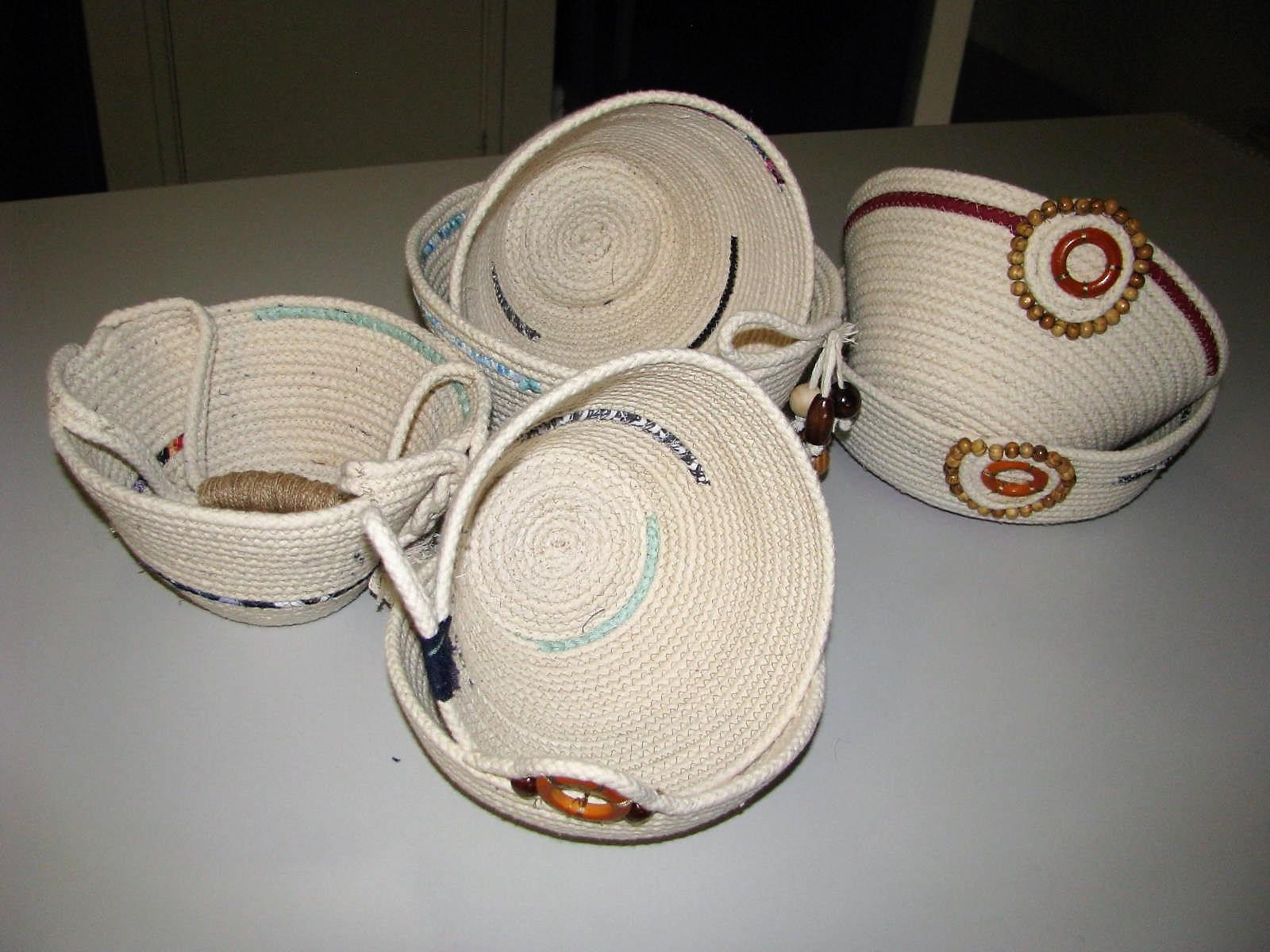 Rope baskets, using beads as a finish