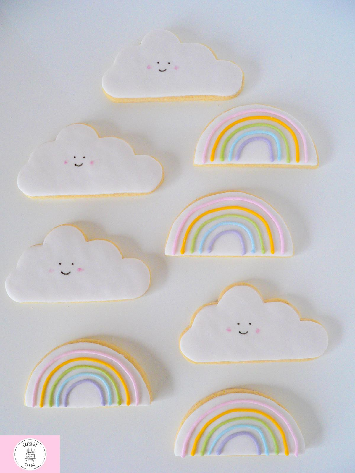 Rainbow + cloud cookies
