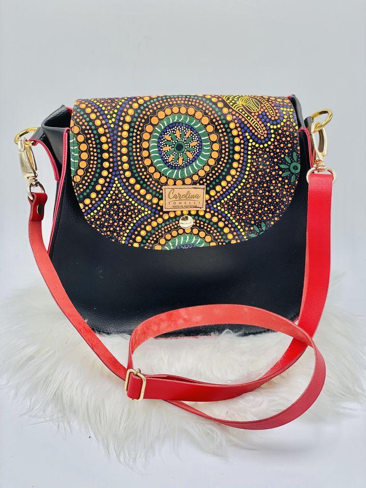 Australian Aboriginal Prints| Handbag | Crossbody | Red&Black | Womans Bag |
