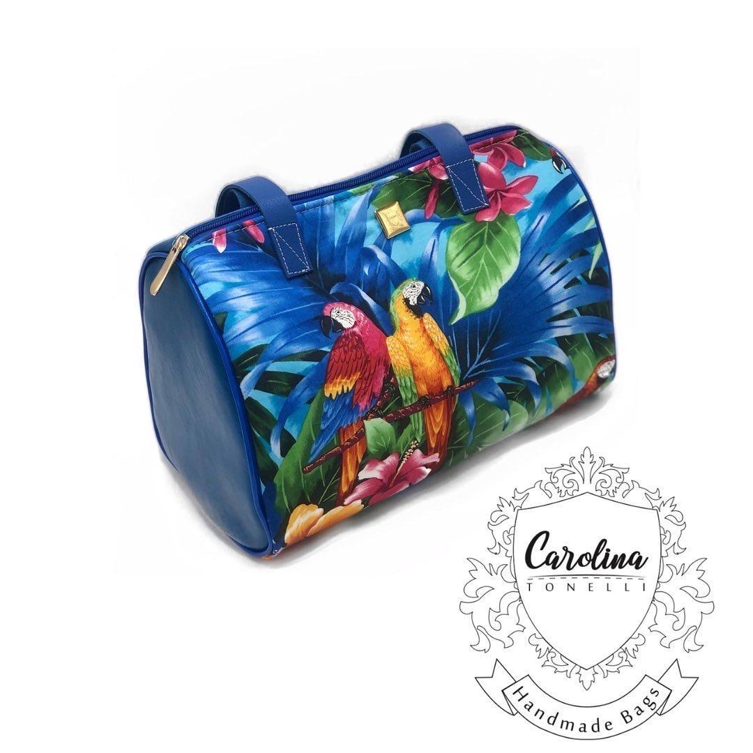 Barrel Handbag | Shoulder | Blue Parrots | Womans Bag | Leather Strap |