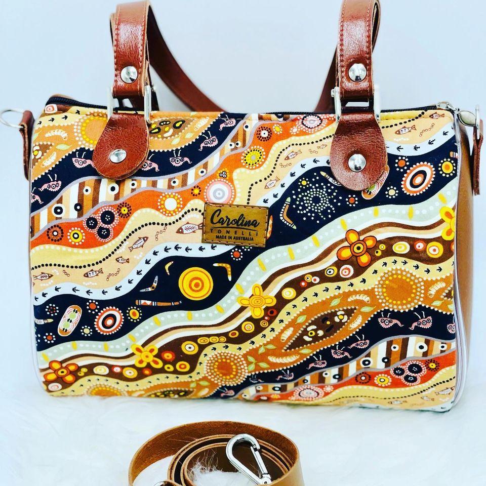 Barrel Handbag | Shoulder/Crossbody | MALLAWA Aboriginal