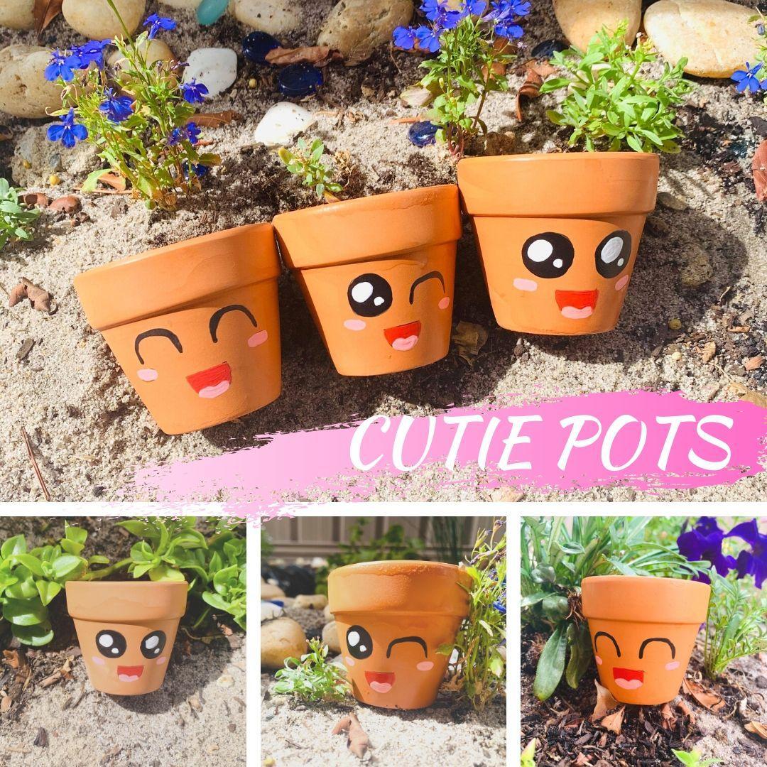 Cutie Pots | Planters | Pot Planters | Smiley Face | Winky Face | Cute | Flirty