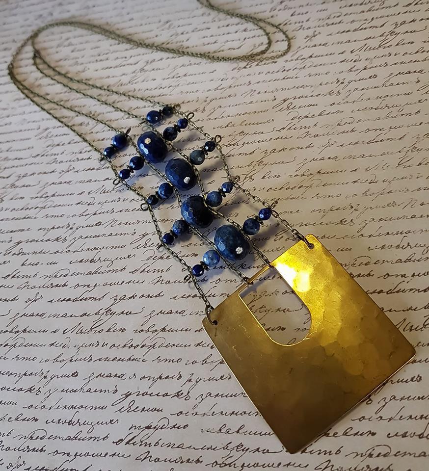 Layered Lapis Lazuli and Brass Focal Necklace