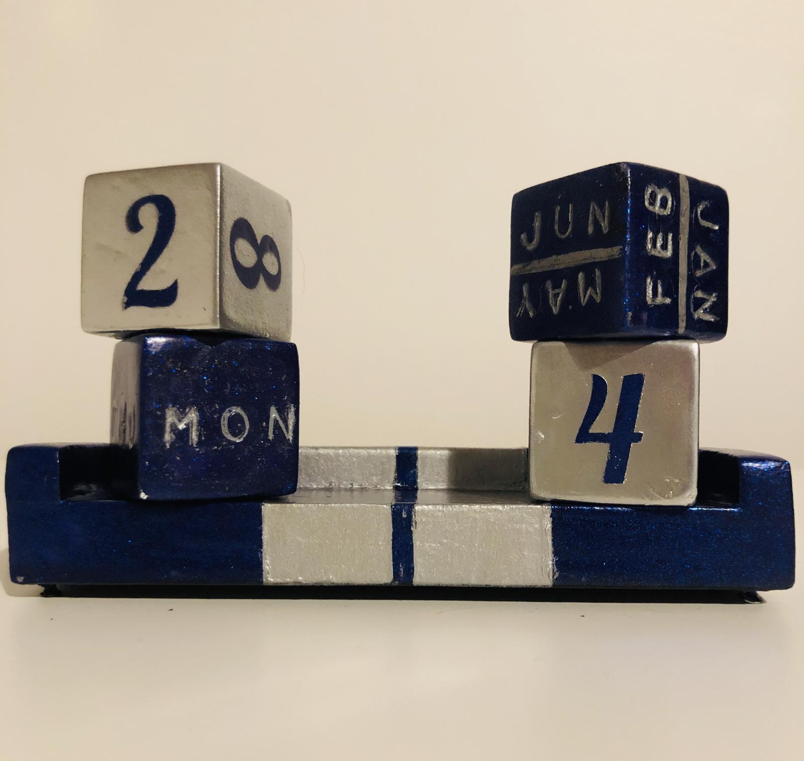 Blue and Silver desk calendar