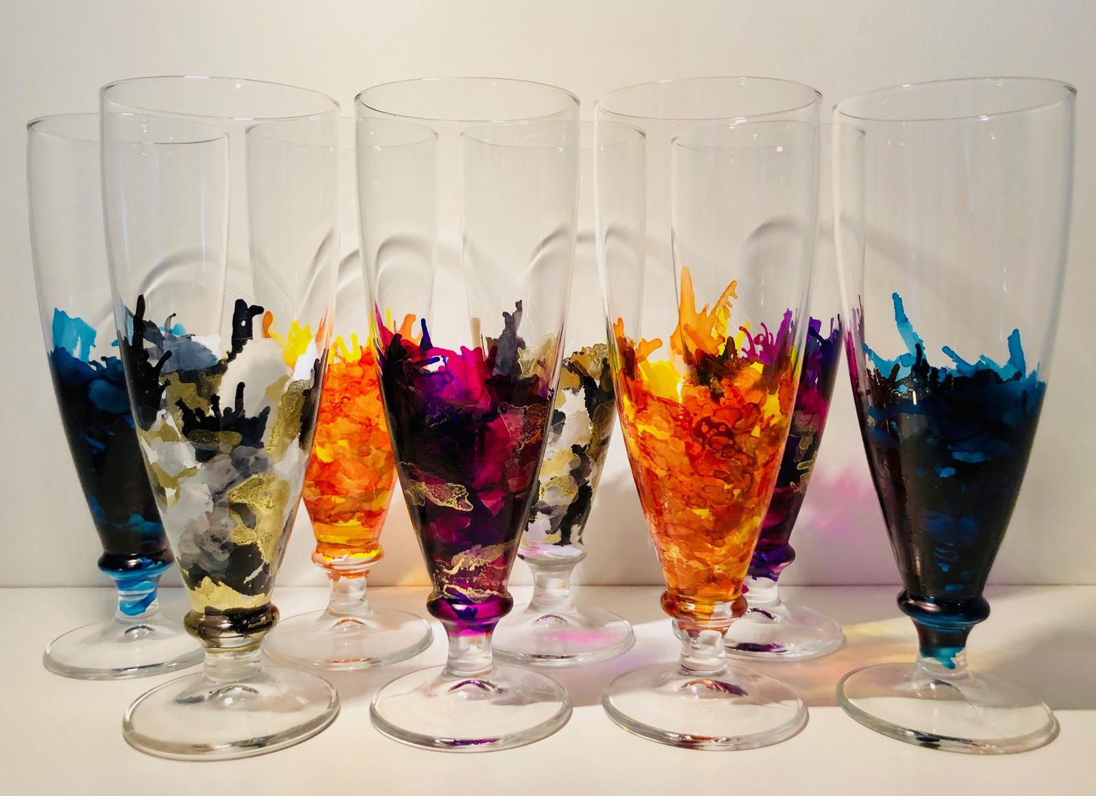 Assorted glassware decorated with alcohol ink