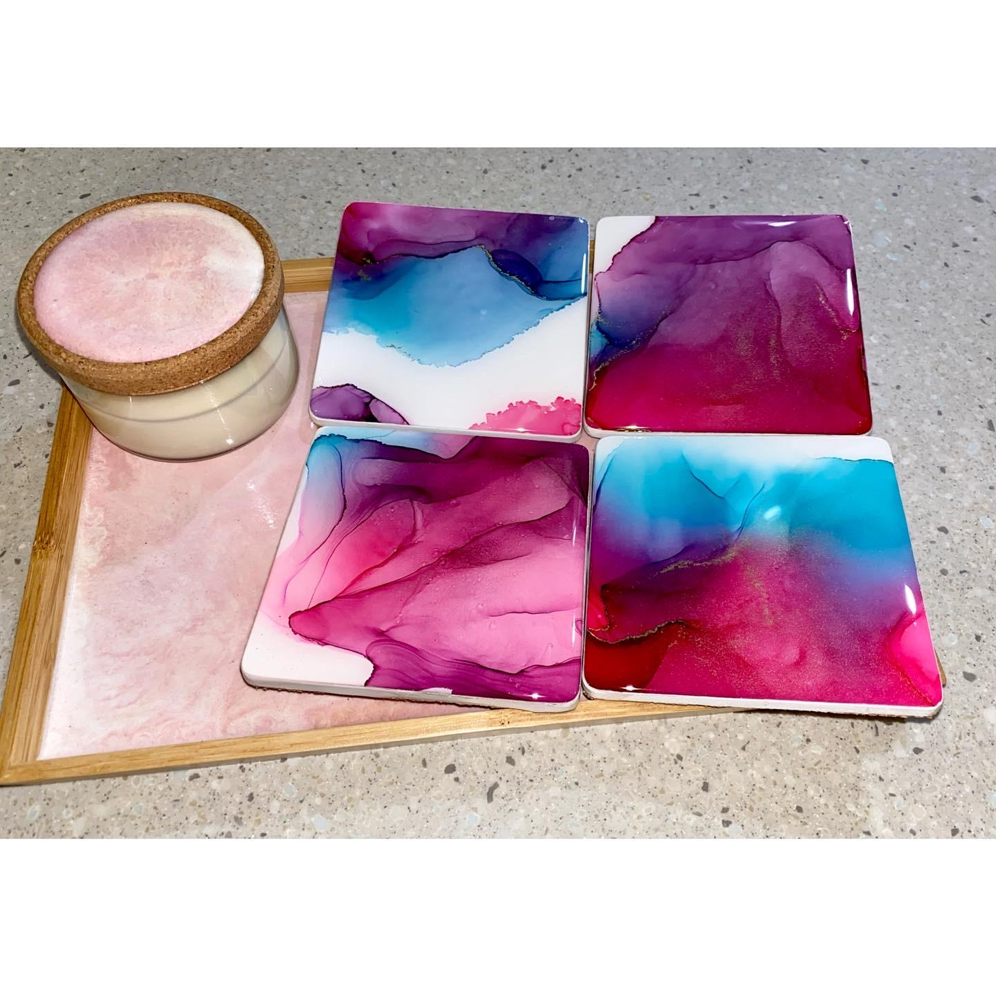 Serving tray, coasters and candles