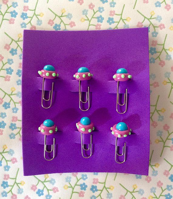 UFO Polymer Clay Paperclips