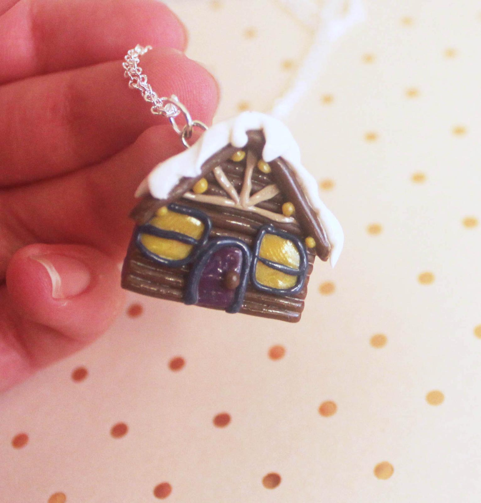 Log Cabin House Necklace
