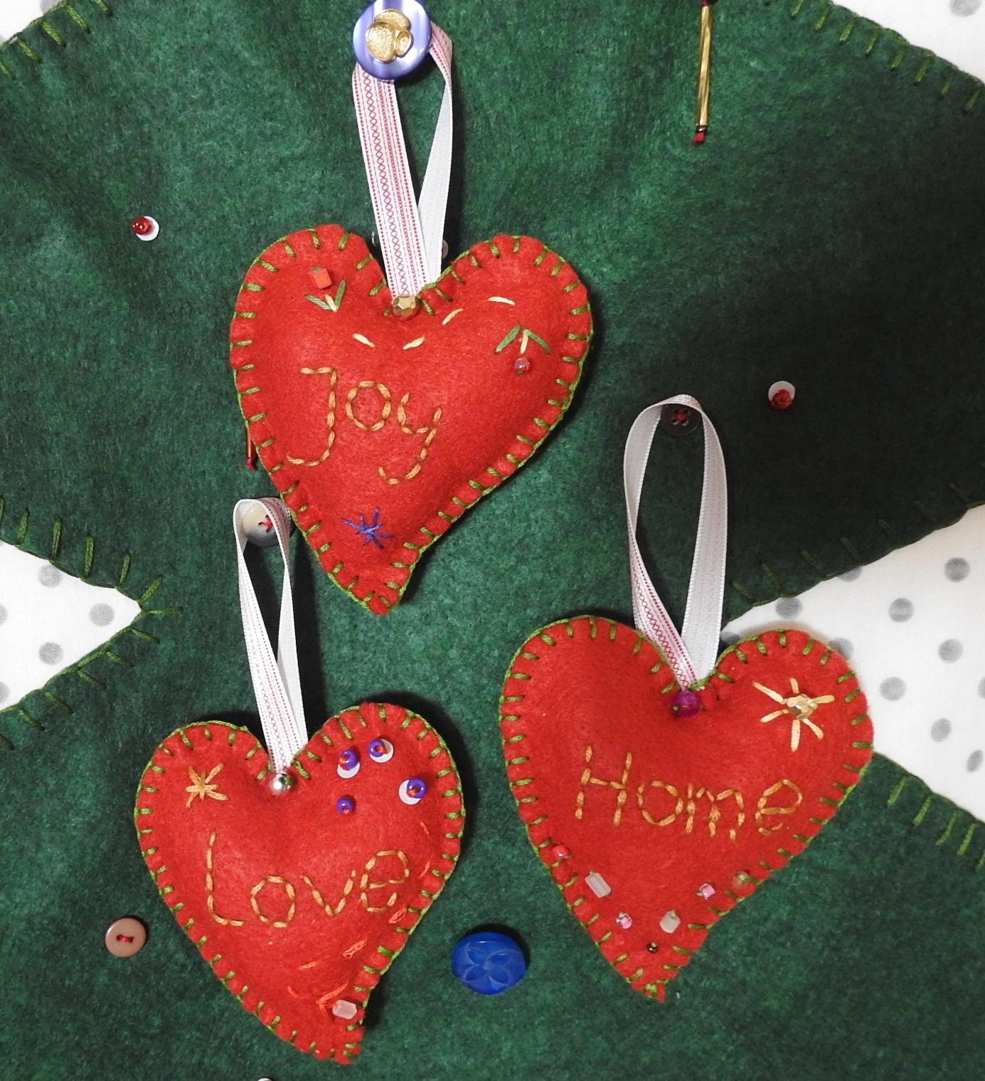 felt Christmas decoration set of 3