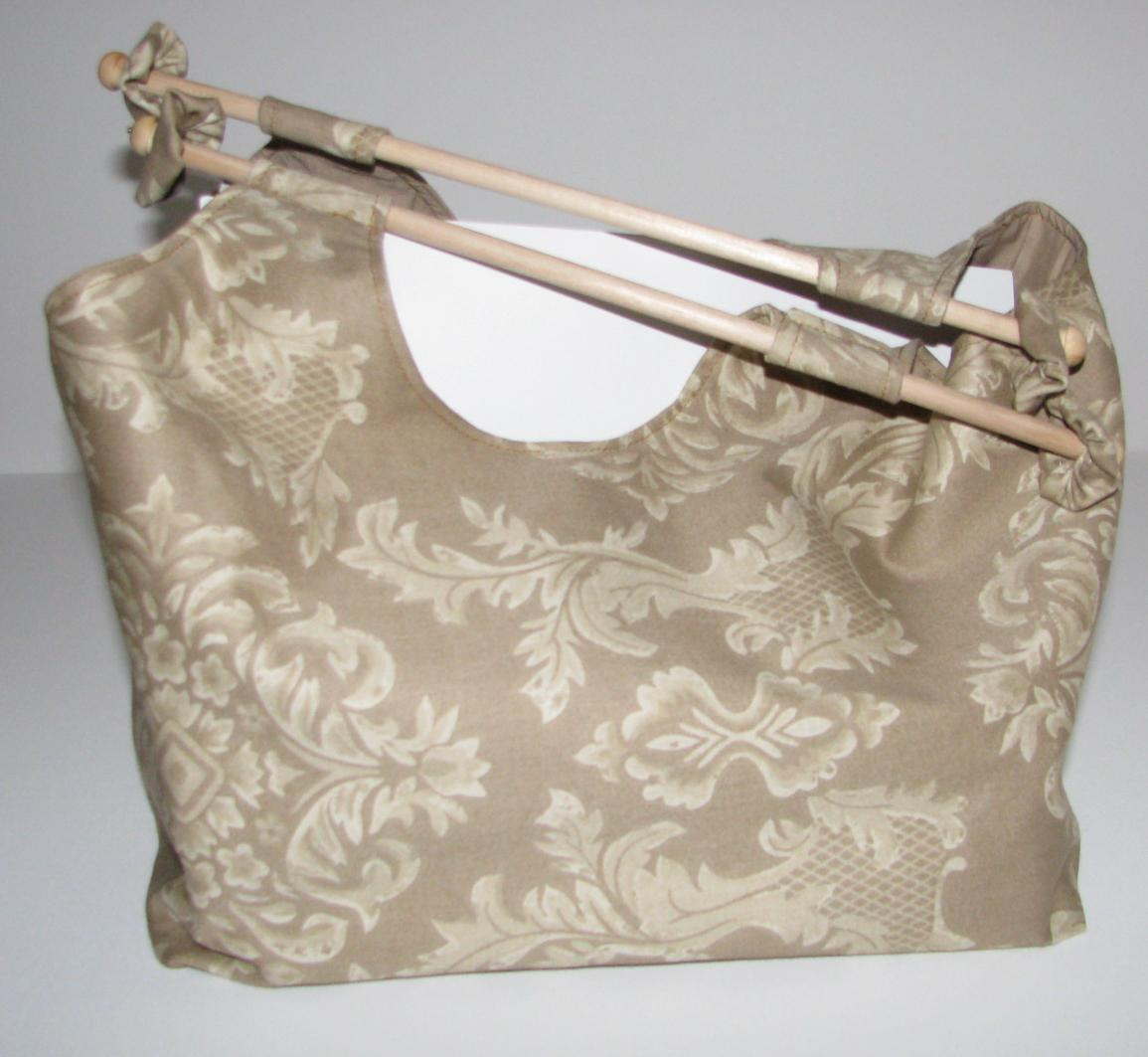 just shopping bag with wooden handles