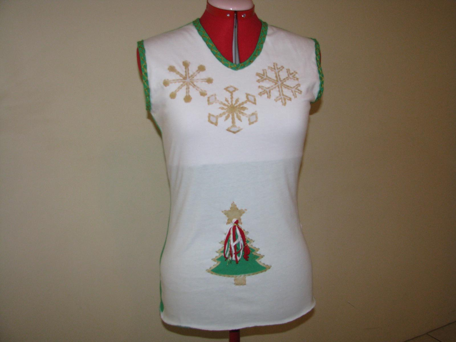 Hand embroidered Christmas t-shirt