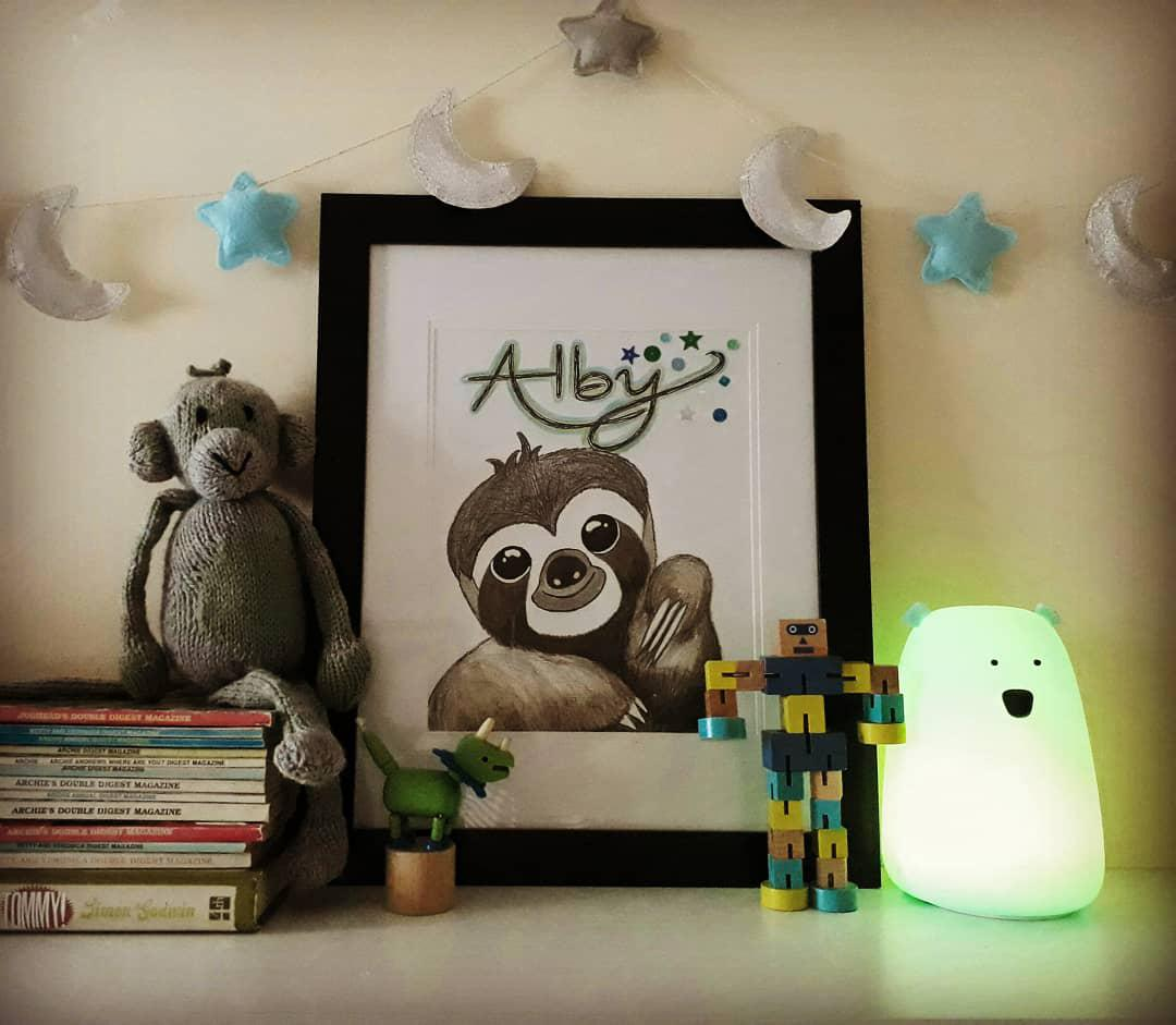 Personalised Sloth Framed